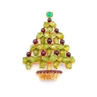 【送料無料】SWOBODA(スワボダ)☆天然石ペリドットとガーネット クリスマスツリーのヴィンテージ・ブローチ