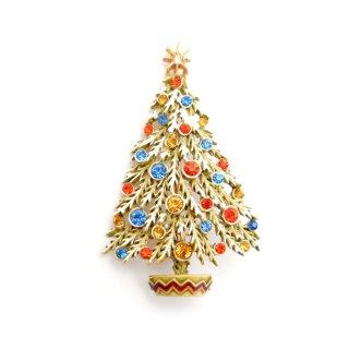 ART(アート)☆ラインストーンと雪化粧クリスマスツリーのヴィンテージ・ブローチ