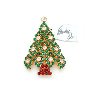 EISENBERG ICE(アイゼンバーグ・アイス)☆ラインストーン クリスマスツリーのヴィンテージ・ブローチ【デッドストック・タグ付】
