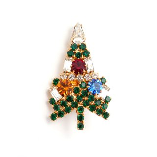 EISENBERG ICE(アイゼンバーグ・アイス)☆ラインストーン ミニ・クリスマスツリーのヴィンテージ・ブローチ【デッドストック・オリジナルカード付】