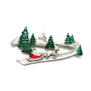 JJ(ジェイジェイ)☆もみの木と馬そりの風景 クリスマスのヴィンテージ・ブローチ【デッドストック】