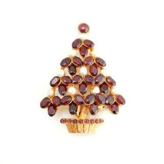 【送料無料】SWOBODA(スワボダ)☆天然石ガーネットと淡水パール クリスマスツリーのヴィンテージ・ブローチ