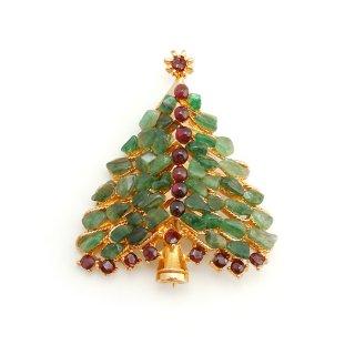 【間もなく再入荷予定!】SWOBODA(スワボダ)☆天然石アベンチュリンとガーネット クリスマスツリーのヴィンテージ・ブローチ