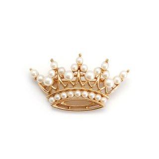 TRIFARI(トリファリ)☆フェイクパール王冠のヴィンテージ・ブローチ