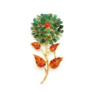 SWOBODA(スワボダ)☆天然石アベンチュリンとカーネリアン 一輪のお花のヴィンテージ・ブローチ