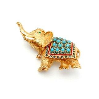 CINER(サイナー)☆ゴージャス!着飾った象のヴィンテージ・ブローチ