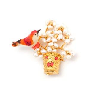 SWOBODA(スワボダ)☆淡水パール x サンゴ 天然石フラワーポットと赤い小鳥のヴィンテージ・ブローチ