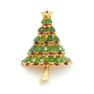SWOBODA(スワボダ)☆天然石ヒスイとガーネット クリスマスツリーのヴィンテージ・ブローチ