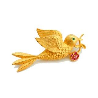 JJ(ジェイジェイ)☆ラインストーンのお花をくわえて空に舞うハト 鳥のヴィンテージ・ブローチ【ゴールド】