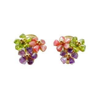 SWOBODA(スワボダ)☆天然石アメジスト・ペリドット 3色のお花のヴィンテージ・イヤリング
