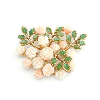SWOBODA(スワボダ)☆天然石ヒスイとサンゴの薔薇のヴィンテージ・ブローチ