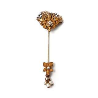 MIRIAM HASKELL(ミリアム ハスケル)☆シードパールとラインストーン 透かし細工お花のヴィンテージ・スティックピン/ハットピン