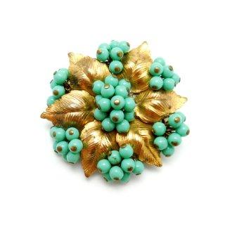 MIRIAM HASKELL(ミリアム ハスケル)初期☆1940年代 ターコイズ・ブルーベリーの実とゴールドリーフ お花のアンティーク・ブローチ
