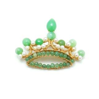 SWOBODA(スワボダ)☆アヴェンチュリン x 翡翠 グリーンの天然石とパールのティアラ 王冠のヴィンテージ・ブローチ