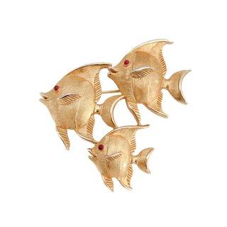 【レア】TRIFARI(トリファリ)☆3匹のお魚 エンゼルフィッシュ親子のヴィンテージ・ブローチ