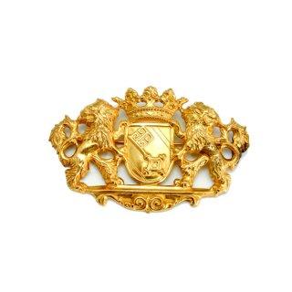 【アウトレット】MIRIAM HASKELL(ミリアム ハスケル)☆ライオンと王冠と鍵 ロイヤルクレスト 紋章のヴィンテージ・ブローチ