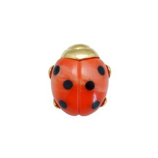 TRIFARI(トリファリ)☆マーブルレッド 小さな赤いテントウ虫のヴィンテージ・ブローチ
