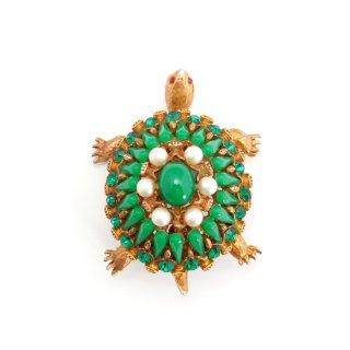 HAR(ハー)☆ジュエルド・タートル 宝石グリーンの甲羅 カメのヴィンテージ・ブローチ