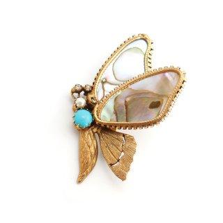 【レア】ORIGINAL BY ROBERT (オリジナル バイ ロバート)☆海の宝石アバロンシェル 天然アワビ貝殻の羽 バタフライ 蝶のヴィンテージ・ブローチ