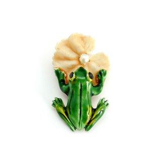 ORIGINAL BY ROBERT (オリジナル・バイ・ロバート)☆蓮の葉とカエルのヴィンテージ・ブローチ