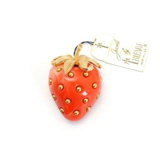 TRIFARI(トリファリ)☆マーブルストロベリー つぶつぶ赤い苺のヴィンテージ・ブローチ【オリジナルタグ付】