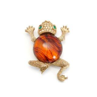 WEISS(ワイス)☆ラインストーンとべっ甲ジェリーベリー 飛び跳ねるカエルのヴィンテージ・ブローチ