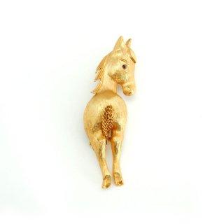 JJ(ジェイジェイ)☆チェーンの尾っぽ 振り返る子馬のヴィンテージ・ブローチ【ゴールド】