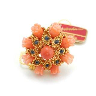 SWOBODA(スワボダ)☆珊瑚とサファイア 天然石ヴィンテージ・アジャスタブル・リング コーラルローズの指輪【デッドストック・タグ付】