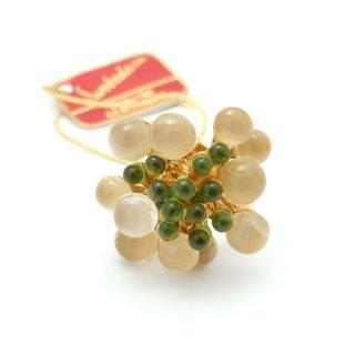 SWOBODA(スワボダ)☆天然石ムーンストーンとペリドット  バブルお花と実の指輪 ヴィンテージ・アジャスタブル・リング【デッドストック・タグ付】