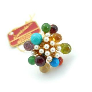 SWOBODA(スワボダ)☆マルチカラー天然石とパール バブル お花と実の指輪 ヴィンテージ・アジャスタブル・リング【デッドストック・タグ付】