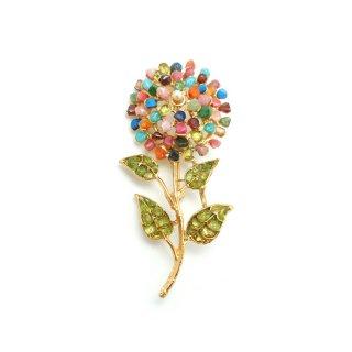 SWOBODA(スワボダ)☆ペリドットとマルチカラーの天然石 一輪のお花のヴィンテージ・ブローチ
