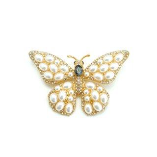 【送料無料】CINER(サイナー)☆パールとラインストーン プリンセス蝶のヴィンテージ・ブローチ