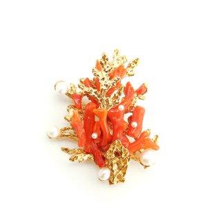 SWOBODA(スワボダ)☆天然の赤い枝珊瑚と淡水パール 珊瑚礁のヴィンテージ・ブローチ【デッドストック】