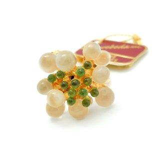 SWOBODA(スワボダ)☆天然石ムーンストーンとペリドット  バブルのお花と実の指輪 ヴィンテージ・アジャスタブル・リング【デッドストック・タグ付】