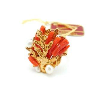 SWOBODA(スワボダ)☆天然の赤い枝珊瑚と淡水パール アジャスタブル・ヴィンテージ・リング 珊瑚礁の指輪【デッドストック・タグ付】