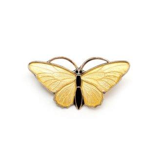 【アウトレット】ノルウェー スターリングシルバー エナメル  黄色い蝶のアンティーク・ブローチ