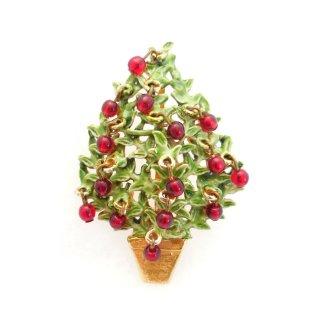 ORIGINAL BY ROBERT (オリジナル・バイ・ロバート)☆赤いビーズのオーナメント アップル・クリスマスツリーのヴィンテージ・ブローチ