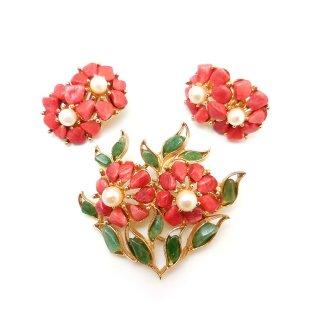 SWOBODA(スワボダ)☆天然石アベンチュリンとコーラル お花のヴィンテージ・ブローチとイヤリングのセット
