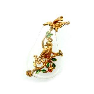 【ブックピース】TANCER II刻印☆梨の木とやまうずら ペアツリー 小鳥のヴィンテージ・クリスマス・ブローチ