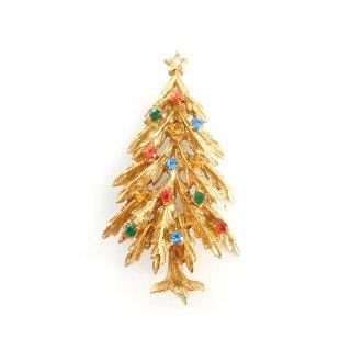 ART(アート)☆ラインストーン・クリスマスツリーのヴィンテージ・ブローチ