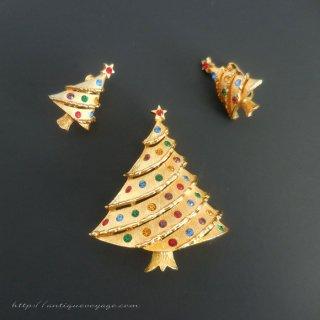 JJ(ジェイジェイ)☆ラインストーン・クリスマスツリーのヴィンテージ・ブローチ&イヤリングのセット