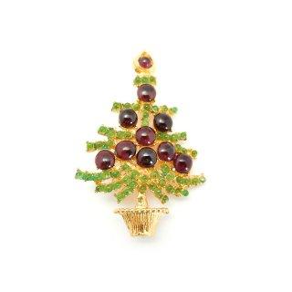 SWOBODA(スワボダ)☆天然石ペリドットとガーネット クリスマスツリーのヴィンテージ・ブローチ【デッドストック】