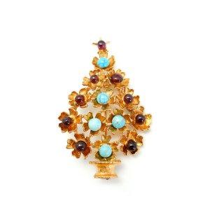 SWOBODA(スワボダ)☆天然石ターコイズとガーネット フラワー・クリスマスツリーのヴィンテージ・ブローチ【デッドストック】