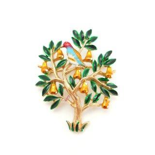 TRIFARI(トリファリ)☆梨の木にやまうずら/パートリッジ 小鳥のヴィンテージ・ブローチ【クリスマスホリデー】