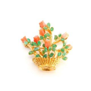SWOBODA(スワボダ)☆天然石アベンチュリンとコーラルローズ フラワーポット 盆栽のヴィンテージ・ブローチ