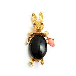 SWOBODA(スワボダ)☆ブラックオニキスと珊瑚のチューリップ 天然石ウサギのヴィンテージ・ブローチ【デッドストック】