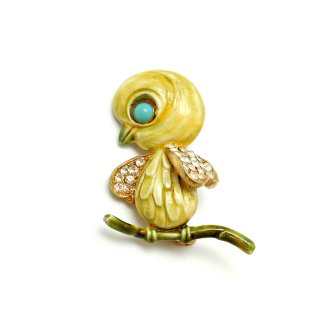 【レア】HAR(ハー)☆黄色いヒヨコ/小鳥のヴィンテージ・ブローチ