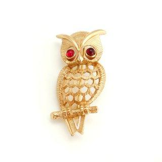 AVON(エイボン)☆1972年「Owlette」ルビーアイ・フクロウのヴィンテージ・ブローチ