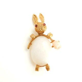 SWOBODA(スワボダ)☆クォーツ天然石と珊瑚のチューリップ【デッドストック】 ウサギのヴィンテージ・ブローチ