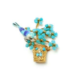 SWOBODA(スワボダ)☆ブルーハウライトとターコイズ天然石 フラワーポットと幸せを呼ぶ青い小鳥のヴィンテージ・ブローチ【デッドストック】